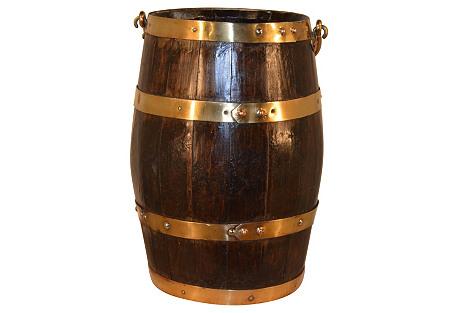 19th-C. English Oak Strapped Barrel