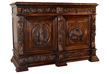19th-C. French Sideboard w/ Hunt Scenes