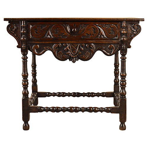 18th-C. Carved English Side Table