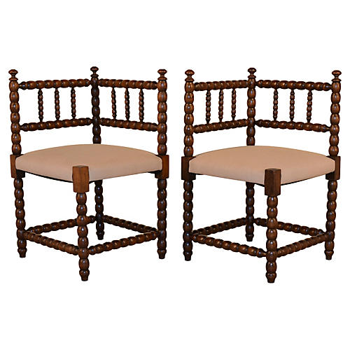 19th-C. French Corner Chairs, S/2