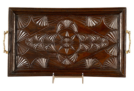Late 19th-C. English Carved  Tray