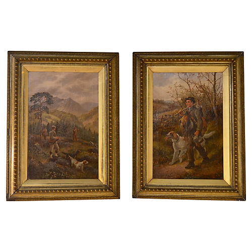 19th-C. English Hunt Paintings, Pair