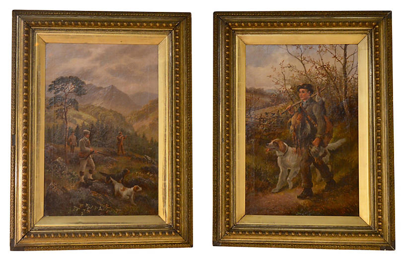 19th-C. English Hunt Paintings, Pair