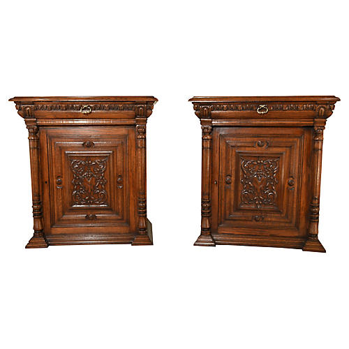 19th-C. French Cupboards, Pair