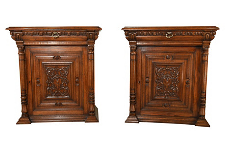 19th-C. Pair of French Cupboards