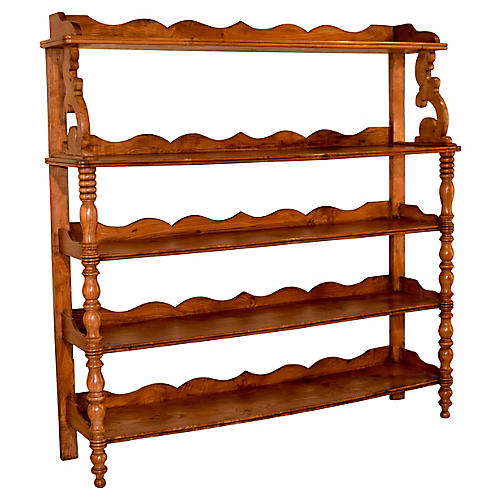 19th-C. English Elm Shelf