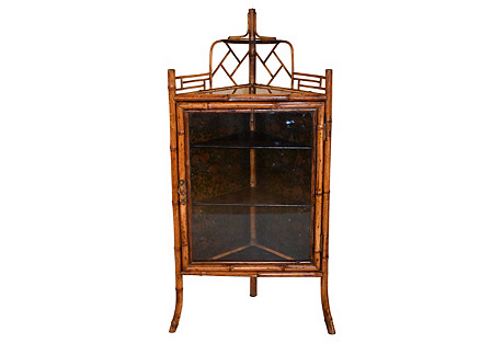 19th-C. French Bamboo Corner Cabinet