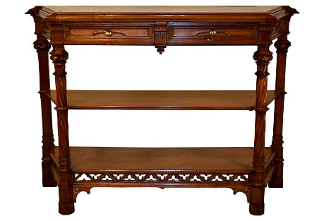19th-C. Walnut Gothic Sideboard