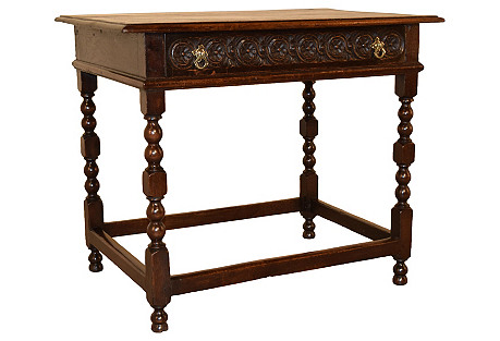 18th-C. English Oak Side Table