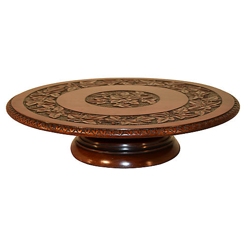 19th-C. Carved Lazy Susan