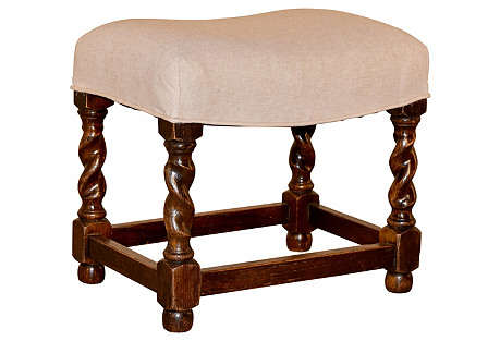 19th-C. English Upholstered Stool