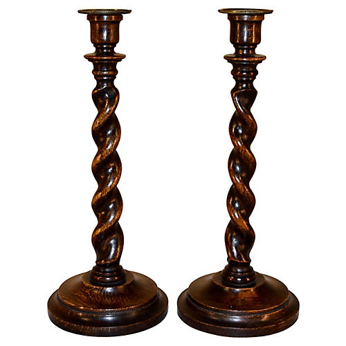 19th-C. Pair of English Oak Candlesticks