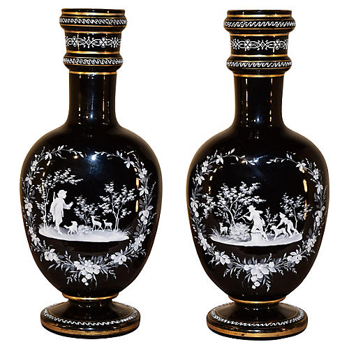 19th-C. Amethyst Glass Vases, Pair