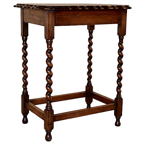 19th-C. English Scalloped Side Table