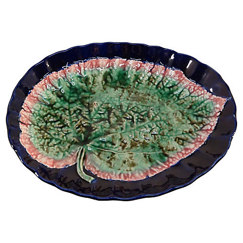 19th-C. Majolica Leaf Tray