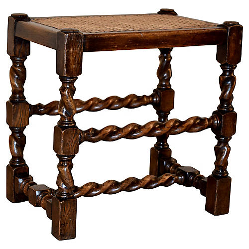 19th-C. Cane Top Stool