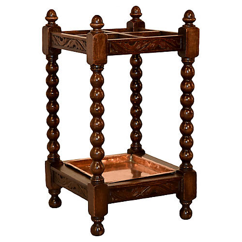 19th-C. Carved Umbrella Stand