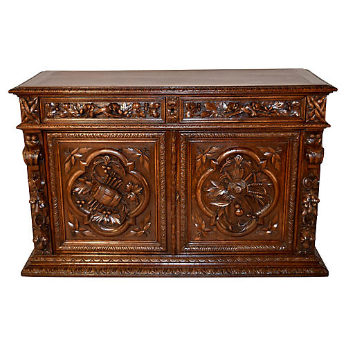 19th-C. Carved French Buffet