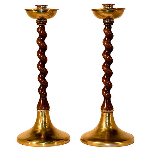19th-C. Walnut Candlesticks, Pair