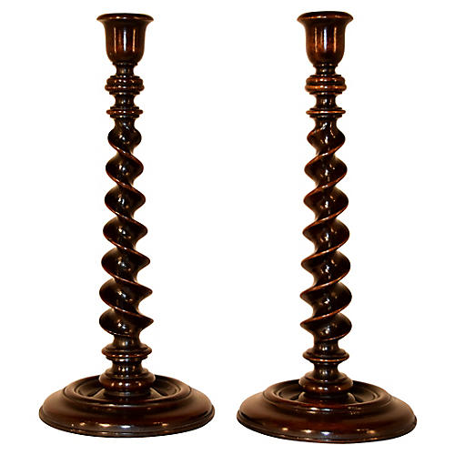 19th-C. Turned Candlesticks, Pair