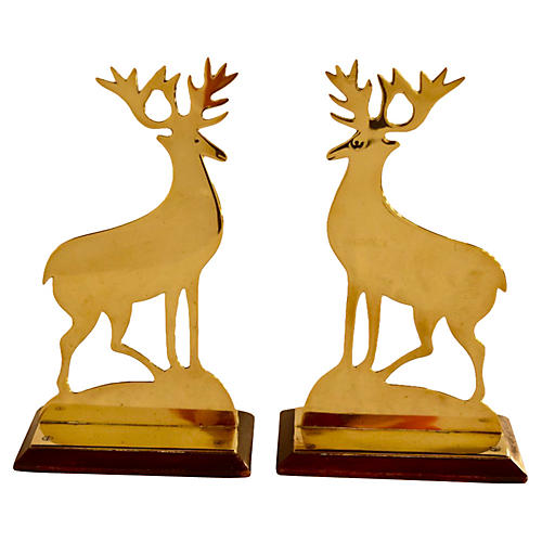 19th-C. Pair of Stag Mantle Decorations