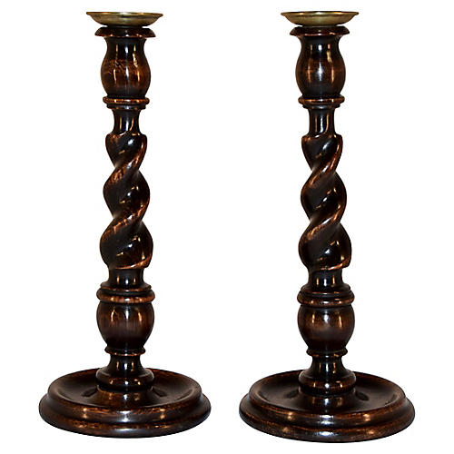 19th-C. English Candlesticks, Pair