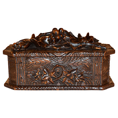 19th-C. Black Forest Carved Box