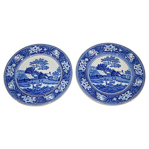 Wedgwood Fallow Deer Chargers, S/2