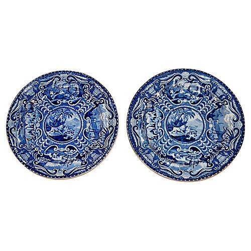 19th-C. Quadruped Plates, S/2