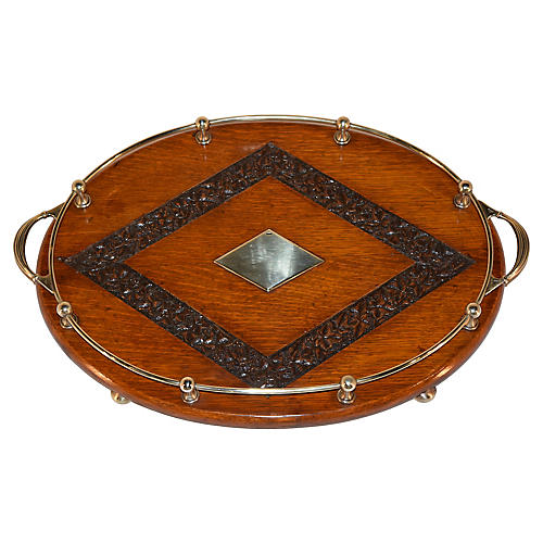 19th-C. Carved Oak Gallery Tray