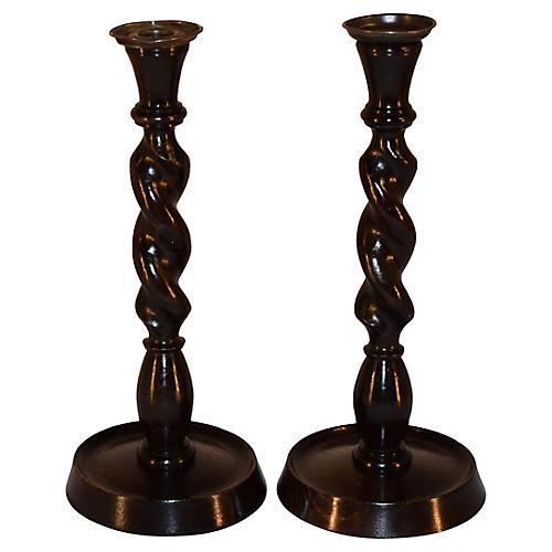 C. 1900 Twist Candlesticks, Pair
