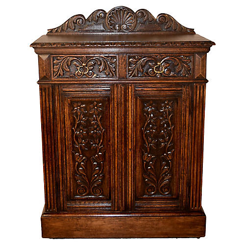 19th-C. English Carved Cupboard