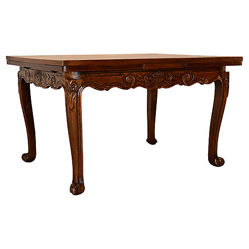 19th-C. French Table with Draw-Leaves