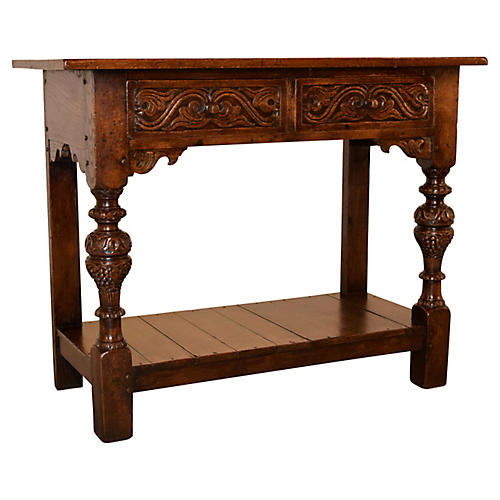 19th-C. Carved Oak Console