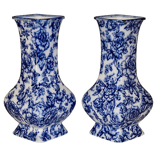 19th-C. Pair of Staffordshire Vases