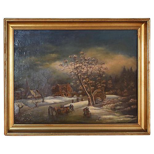 19th-C. English Winter Scene Painting