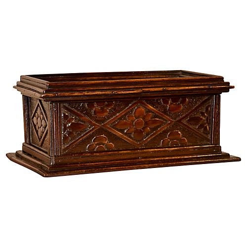 19th-C. English Carved Box