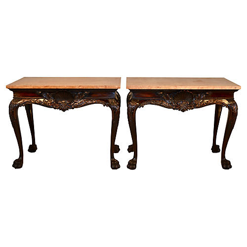 Pair 19th-C. Irish Marble-Top Consoles