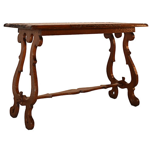 19th-C. English Oak Carved Table