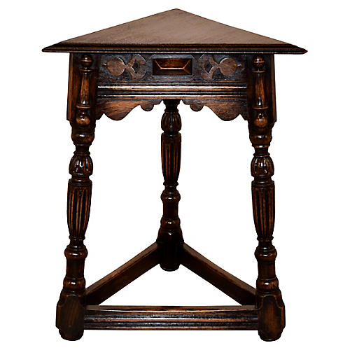 19th-C. Triangular Side Table