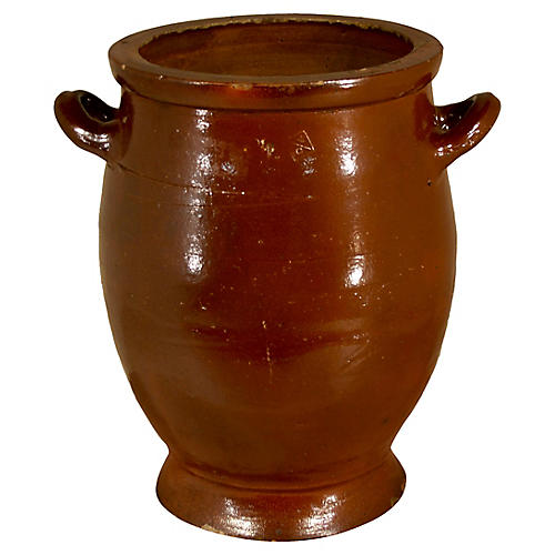 19th-C. French Pottery Crock