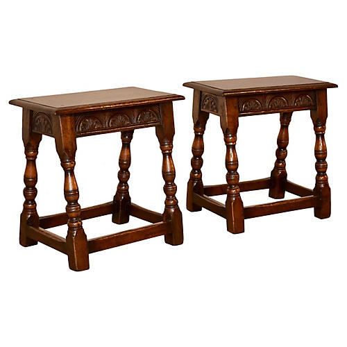19th-C. Pair of Joint Stools