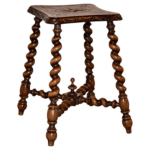 19th-C. Carved Stool