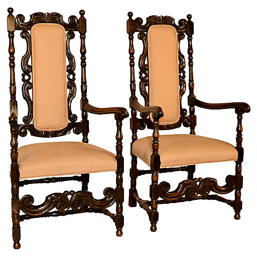 Pair of 19th-C. English Hall Chairs