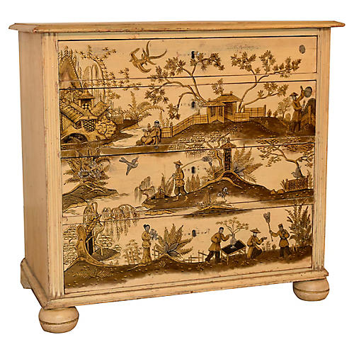 19th-C. English Chinoiserie Chest