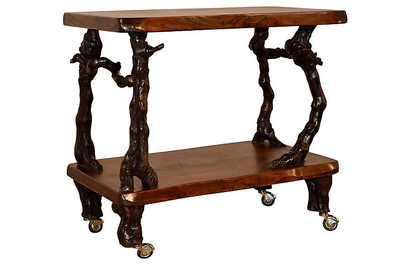 French Grapevine and Walnut Bar Cart