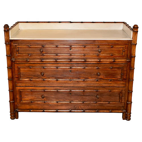 19th-C. French Faux Bamboo Chest