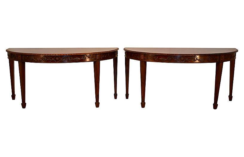Early 19th-C. Demilune Tables, Pair