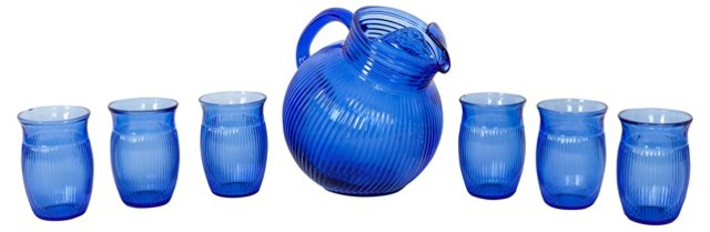 Blue Glass Pitcher & Glasses, 7 Pcs.