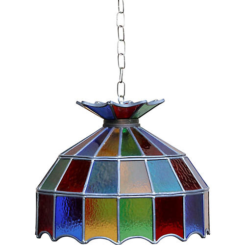 1970's Multicolored Glass Hanging Shade